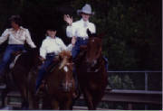 Amber and Sister in Rodeo Parade on Rocky and Pudden Linda